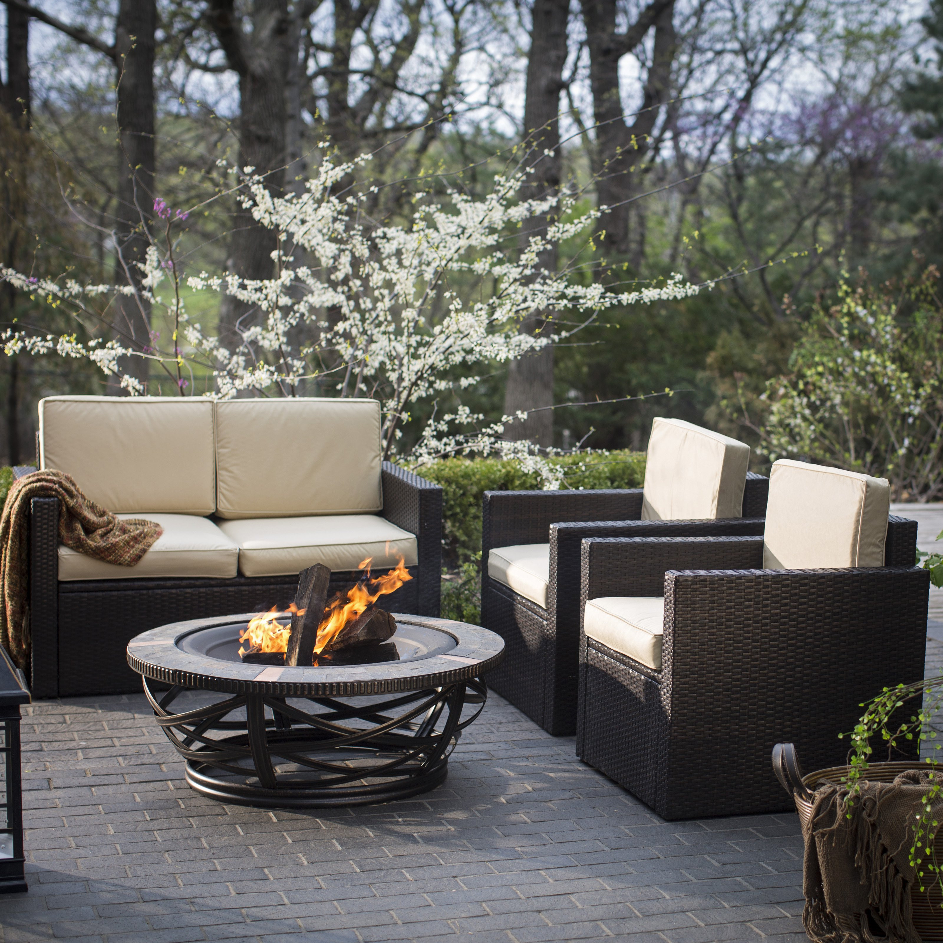 Best ideas about Outdoor Fire Pit Sets . Save or Pin Palm Harbor Tile Fire Pit Chat Set Fire Pit Patio Sets Now.