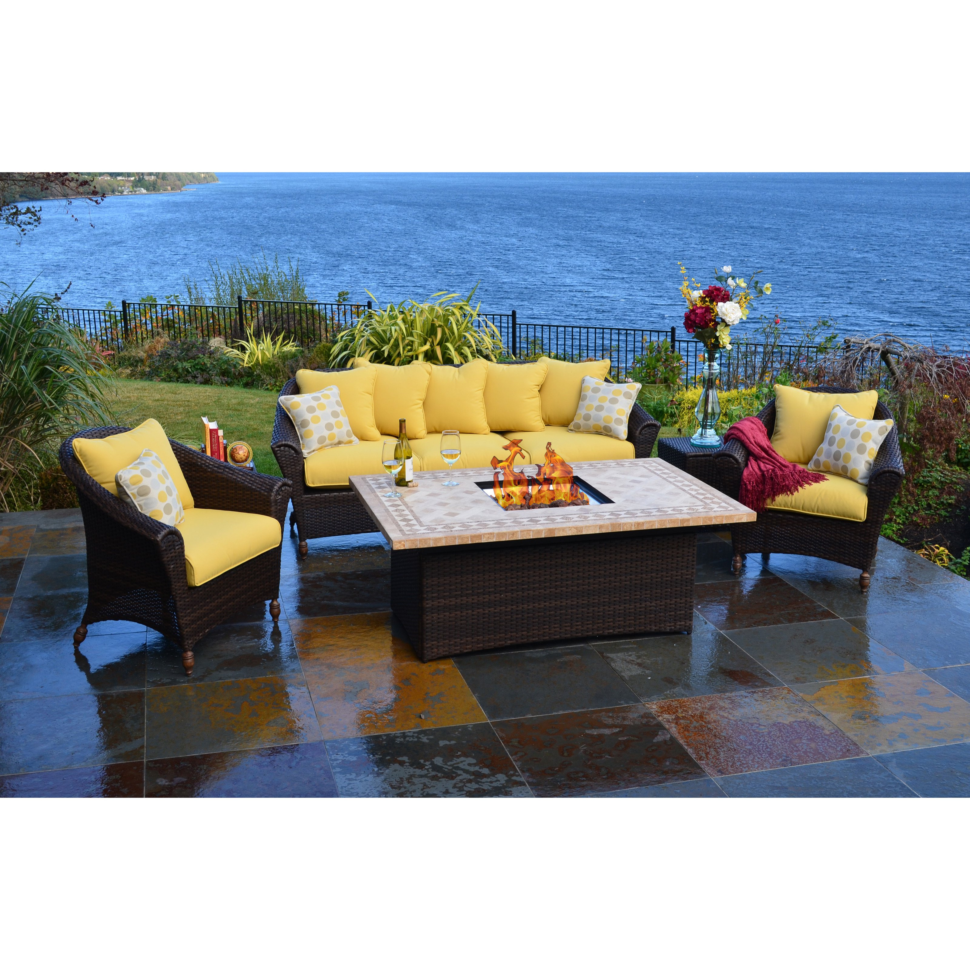 Best ideas about Outdoor Fire Pit Sets . Save or Pin Bellamar All Weather Wicker Fire Pit Chat Set Fire Pit Now.