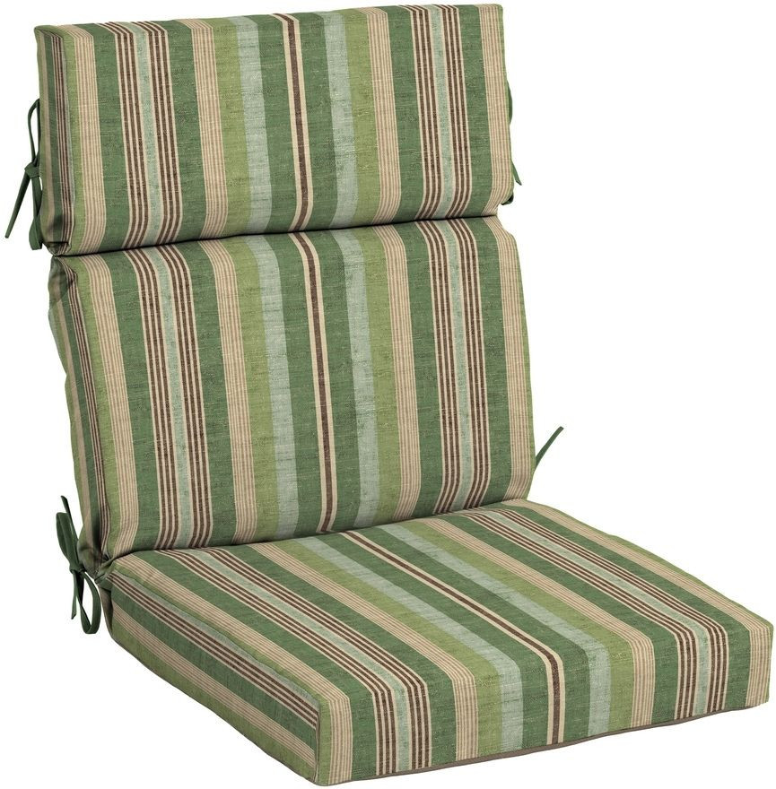 Best ideas about Outdoor Patio Chair Cushions . Save or Pin High Back Chair Cushion Tie Down Stripe Green Outdoor Now.