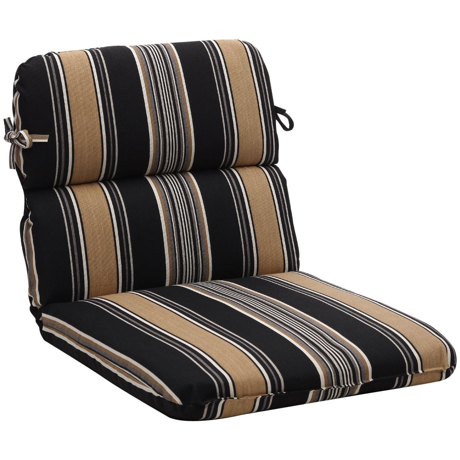 Best ideas about Outdoor Patio Chair Cushions . Save or Pin Rounded Black Tan Stripe Outdoor Chair Cushion Free Now.