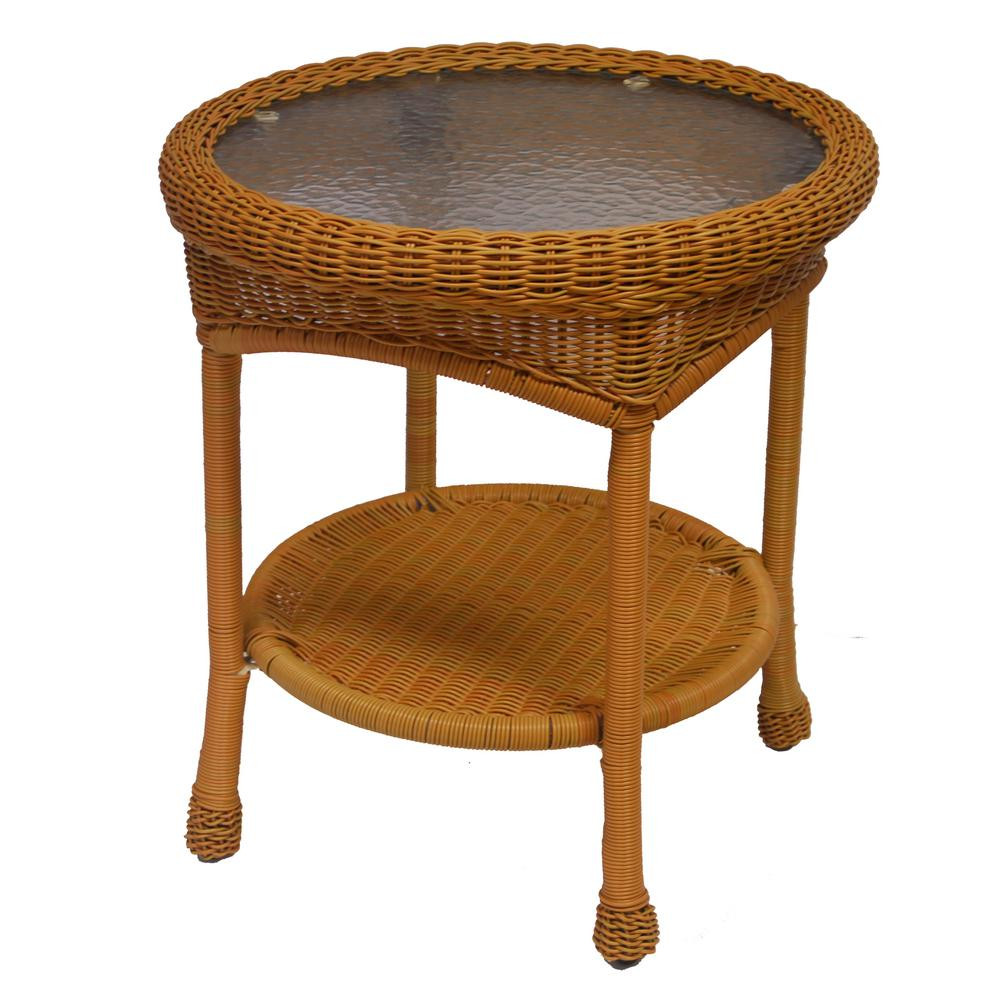 Best ideas about Outdoor Side Table . Save or Pin Hampton Bay Spring Haven 20 in Brown All Weather Wicker Now.