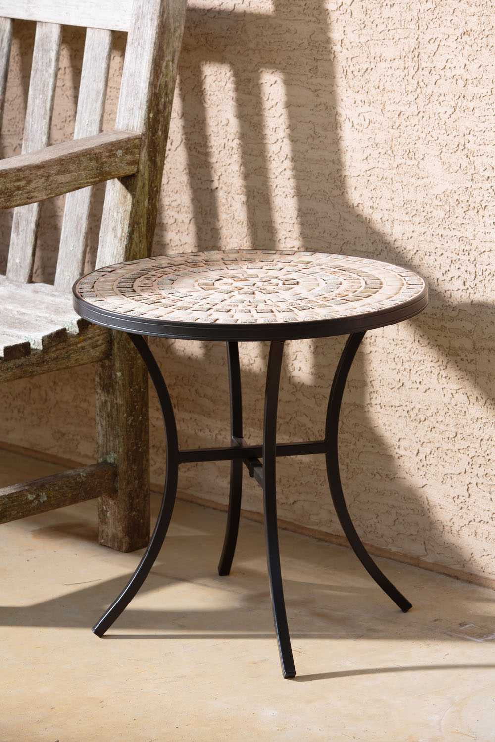 Best ideas about Outdoor Side Table . Save or Pin Alfresco Home Boracay Wrought Iron 20 Round Ceramic Mosaic Now.