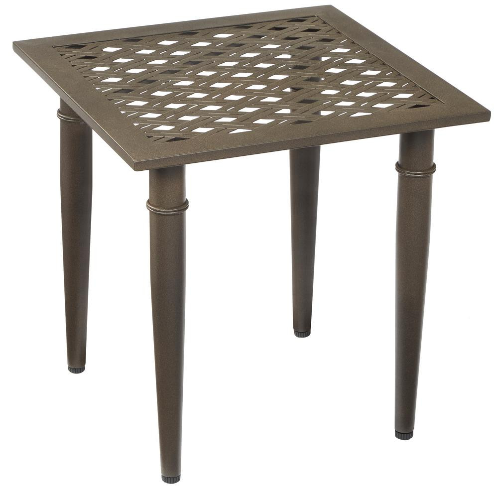 Best ideas about Outdoor Side Table . Save or Pin Hampton Bay Oak Cliff Metal Outdoor Side Table 176 411 Now.