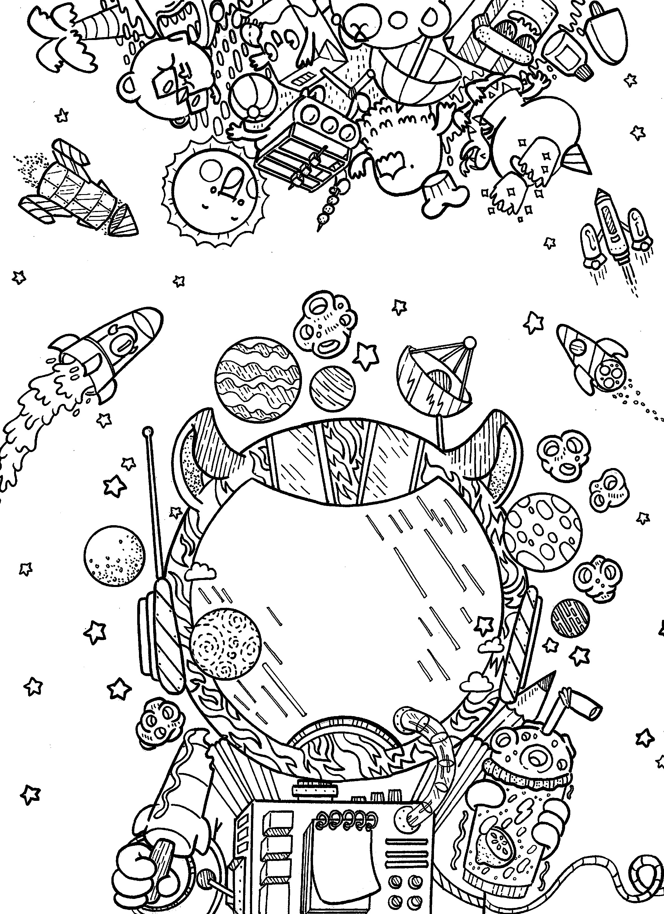 Outer Space Coloring Pages For Adults  Pin by irvin ranada on doodles in outer space coloring