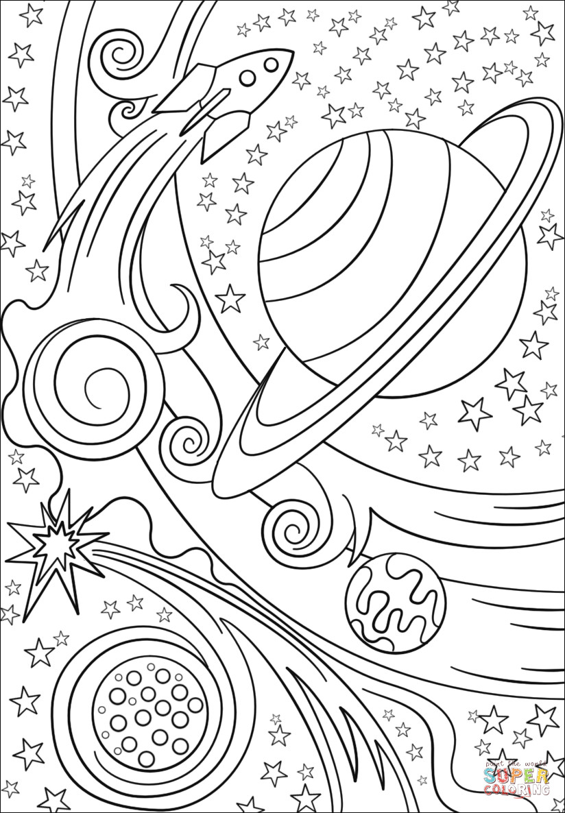 Outer Space Coloring Pages For Adults  Trippy Space Rocket and Planets coloring page