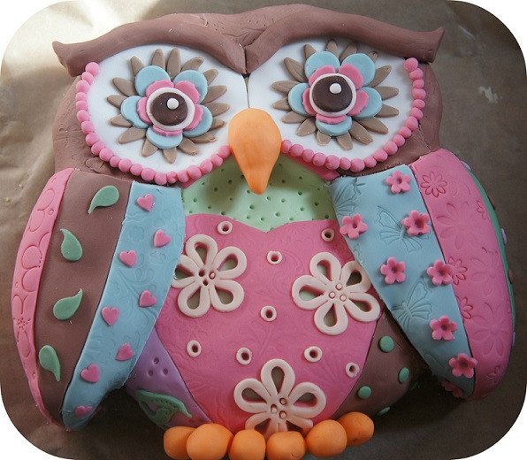 Owl Birthday Cake  Patchwork owl birthday cake