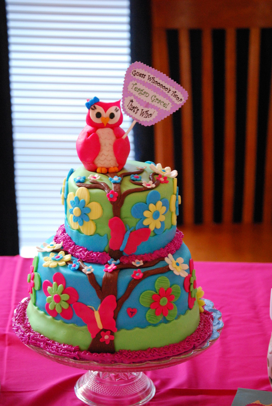 Owl Birthday Cake  Owl Theme Birthday Cake CakeCentral
