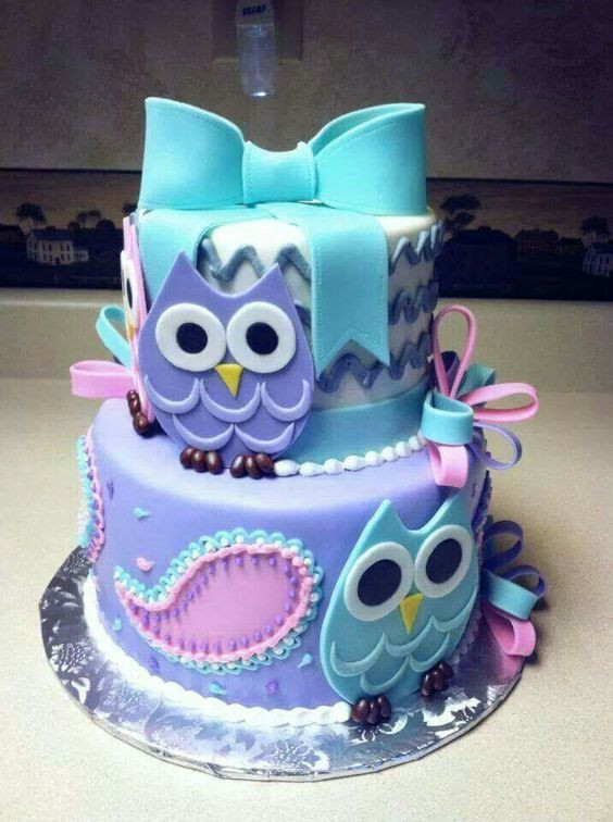 Owl Birthday Cake  Owl Baby Shower Cake For Both Girl and Boy Party XYZ