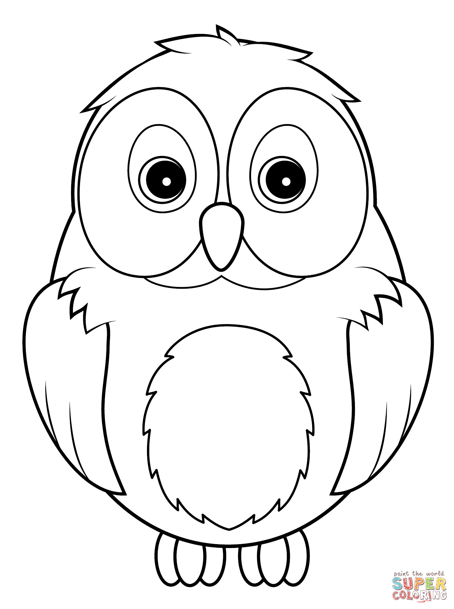 Owl Coloring Pages For Kids Printable  Cute Owl coloring page