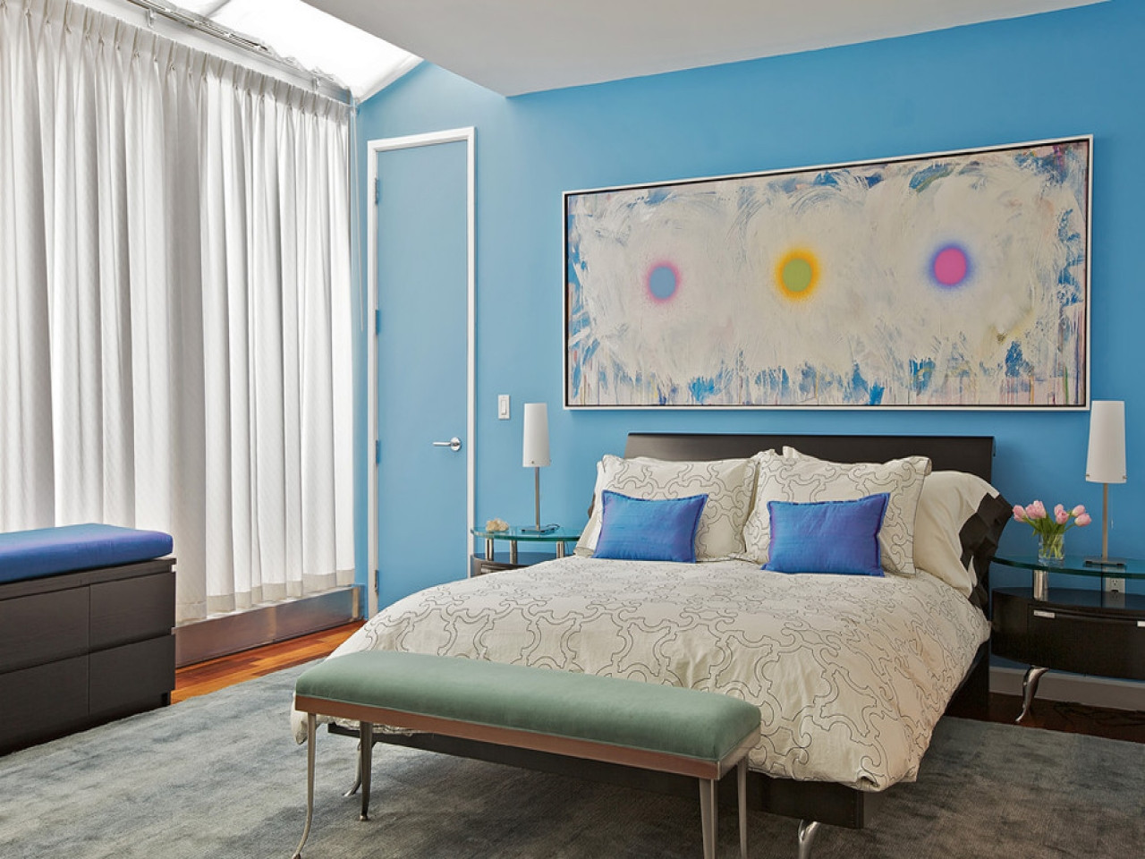 Best ideas about Paint Colors For Bedroom . Save or Pin Show bedrooms designs blue bedroom accent wall paint Now.