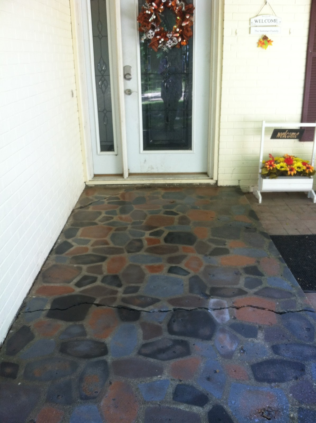 Best ideas about Painted Concrete Patio . Save or Pin The Smart Momma Spray Painted Faux Stones on Concrete Patio Now.