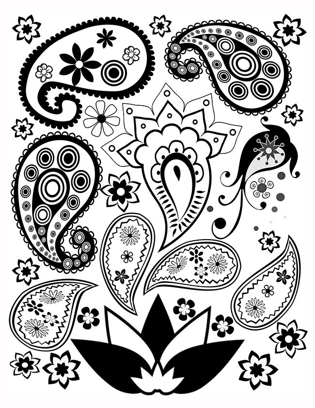 Paisley Printable Coloring Pages  Free Paisley Coloring Page