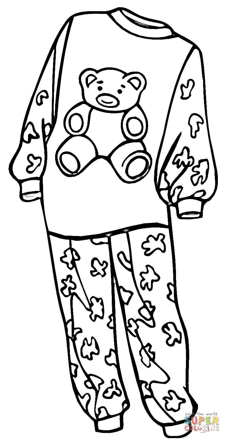 Pajama Coloring Pages  Pajamas for a Girl coloring page