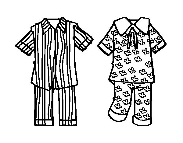 Pajama Coloring Pages  Stripy For Boys And Flowery For Girl s Pajamas Colouring
