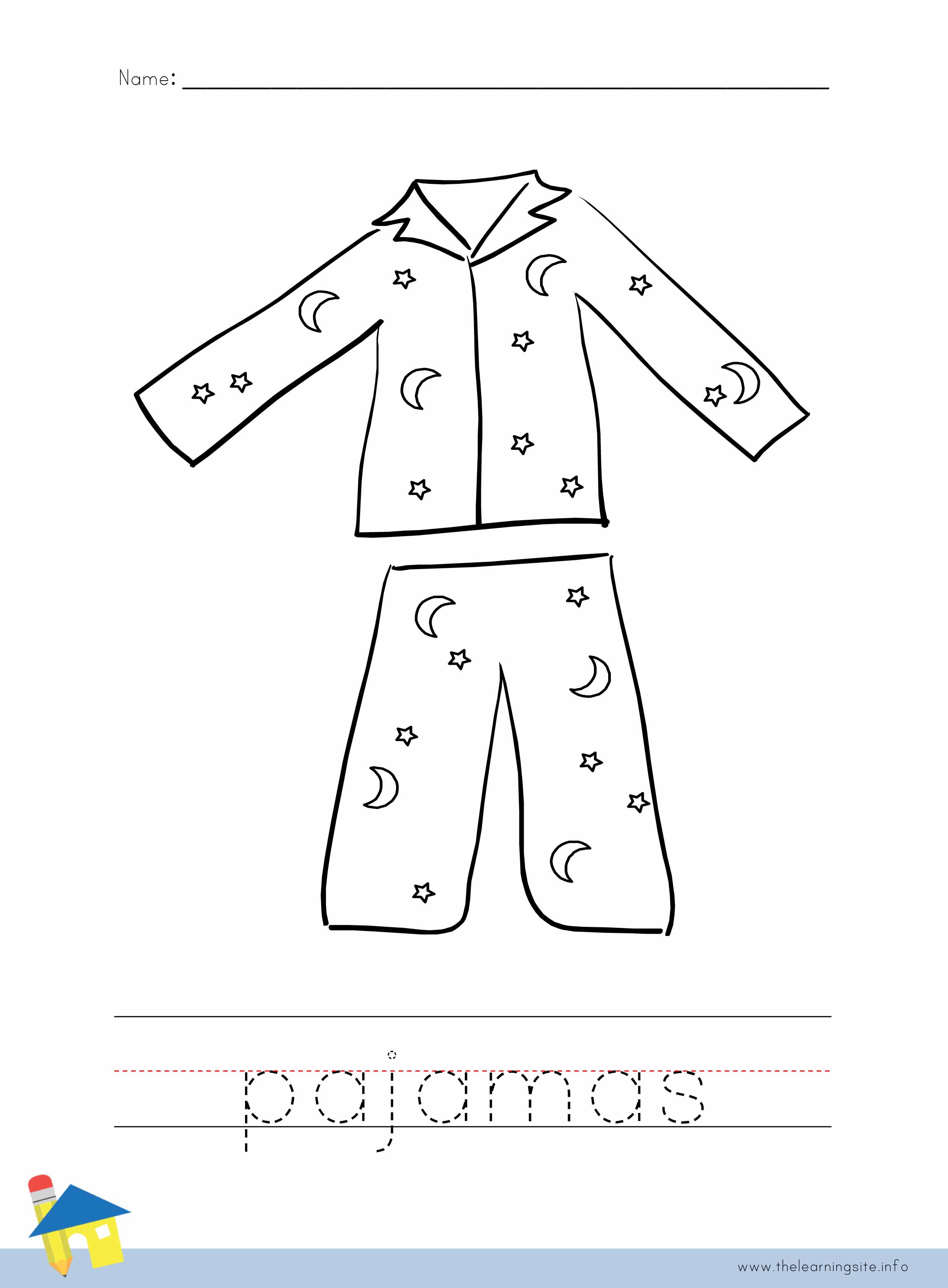 Pajama Coloring Pages  The Learning Site