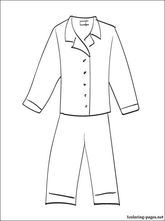 Pajama Coloring Pages  Pajama Printable Coloring Pages Teaching 2