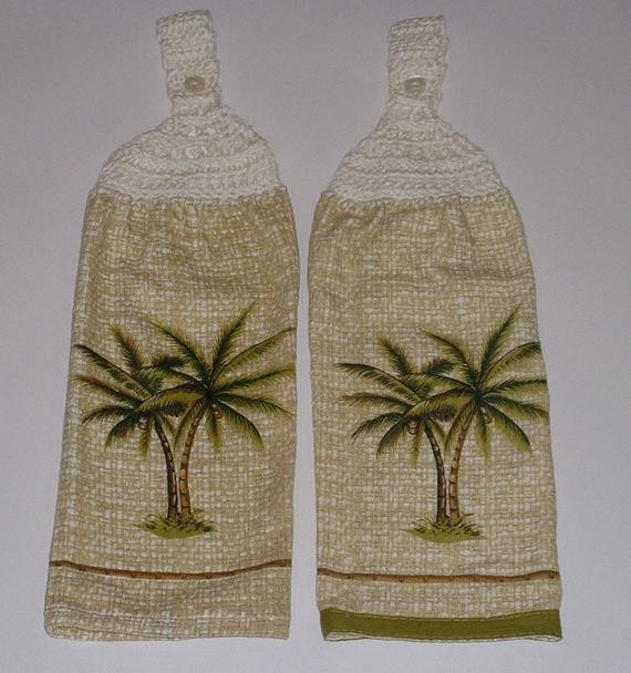 Best ideas about Palm Tree Kitchen Decor . Save or Pin 2 PALM TREE Hanging Crochet Top Dish Towel Tropical Kitchen Now.