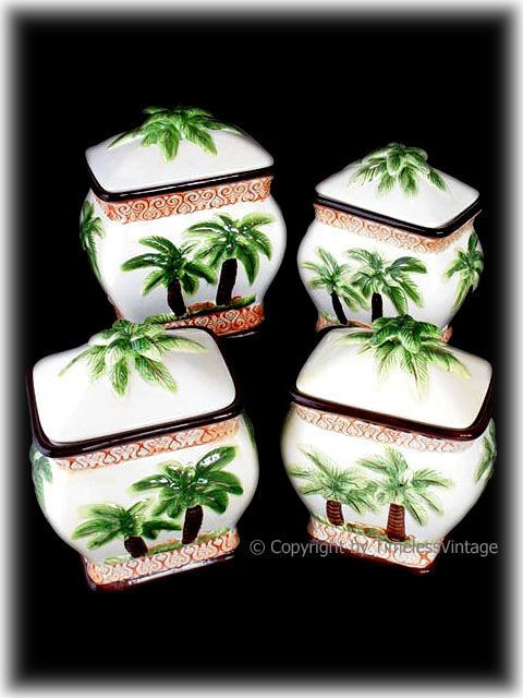 Best ideas about Palm Tree Kitchen Decor . Save or Pin 4pc Tropical Hawaiian Palm Tree Kitchen Canister Set Now.
