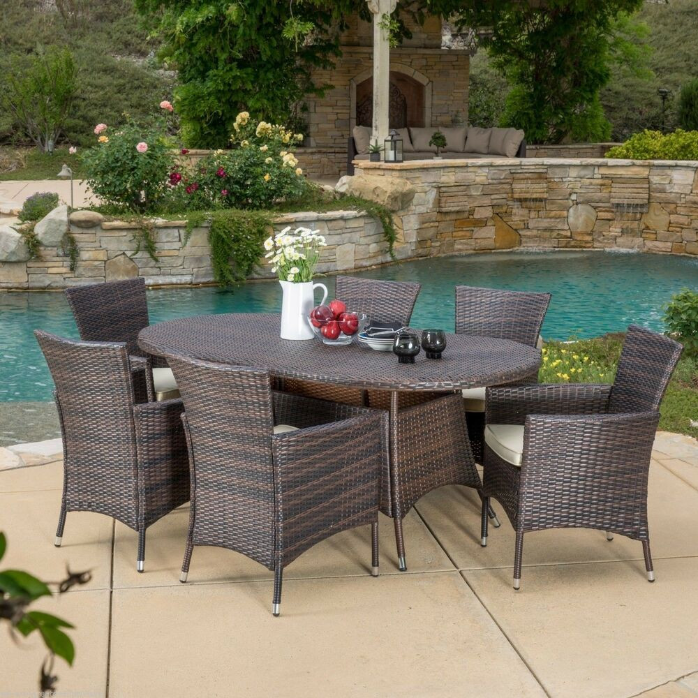 Best ideas about Patio Furniture Set . Save or Pin Outdoor Patio Furniture 7pcs Brown Wicker Dining Set w Now.