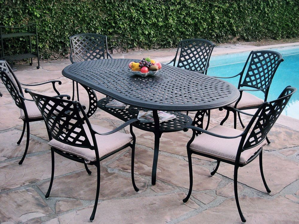 Best ideas about Patio Furniture Set . Save or Pin 7 Piece Outdoor Patio Furniture Cast Aluminum Dining Set Now.