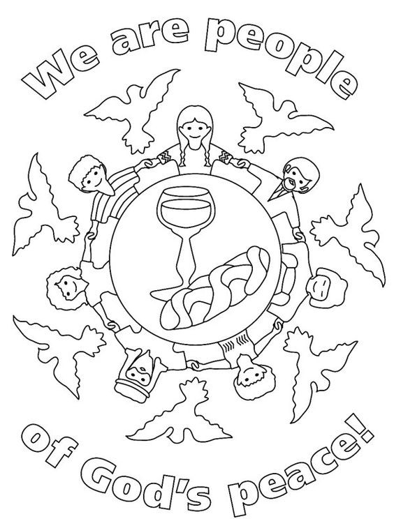 Peace Coloring Pages For Kids  first munion worksheets for children