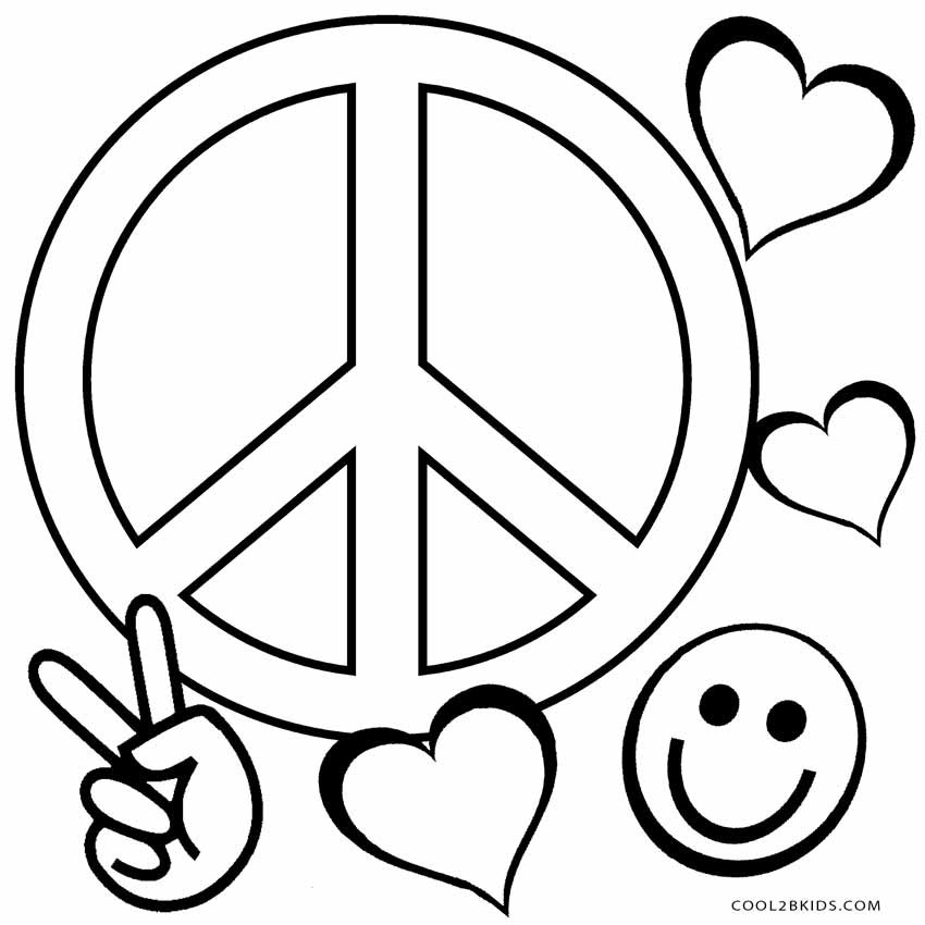 Peace Coloring Pages For Kids  Free Printable Peace Sign Coloring Pages
