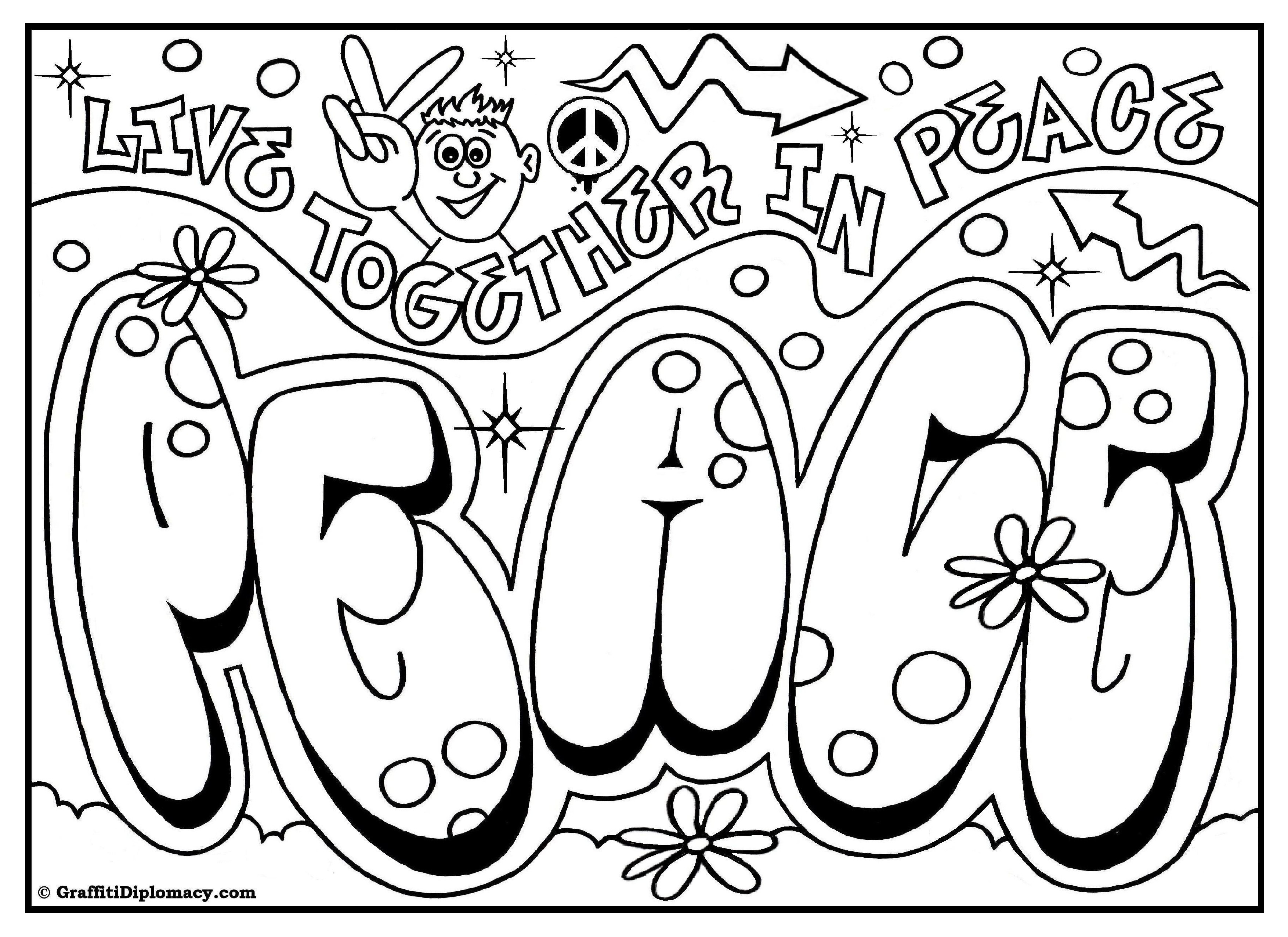 Peace Coloring Pages For Kids  OMG Another Graffiti Coloring Book of Room Signs Learn