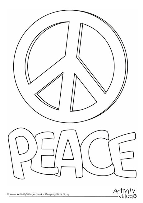 Peace Coloring Pages For Kids  Peace Colouring Page