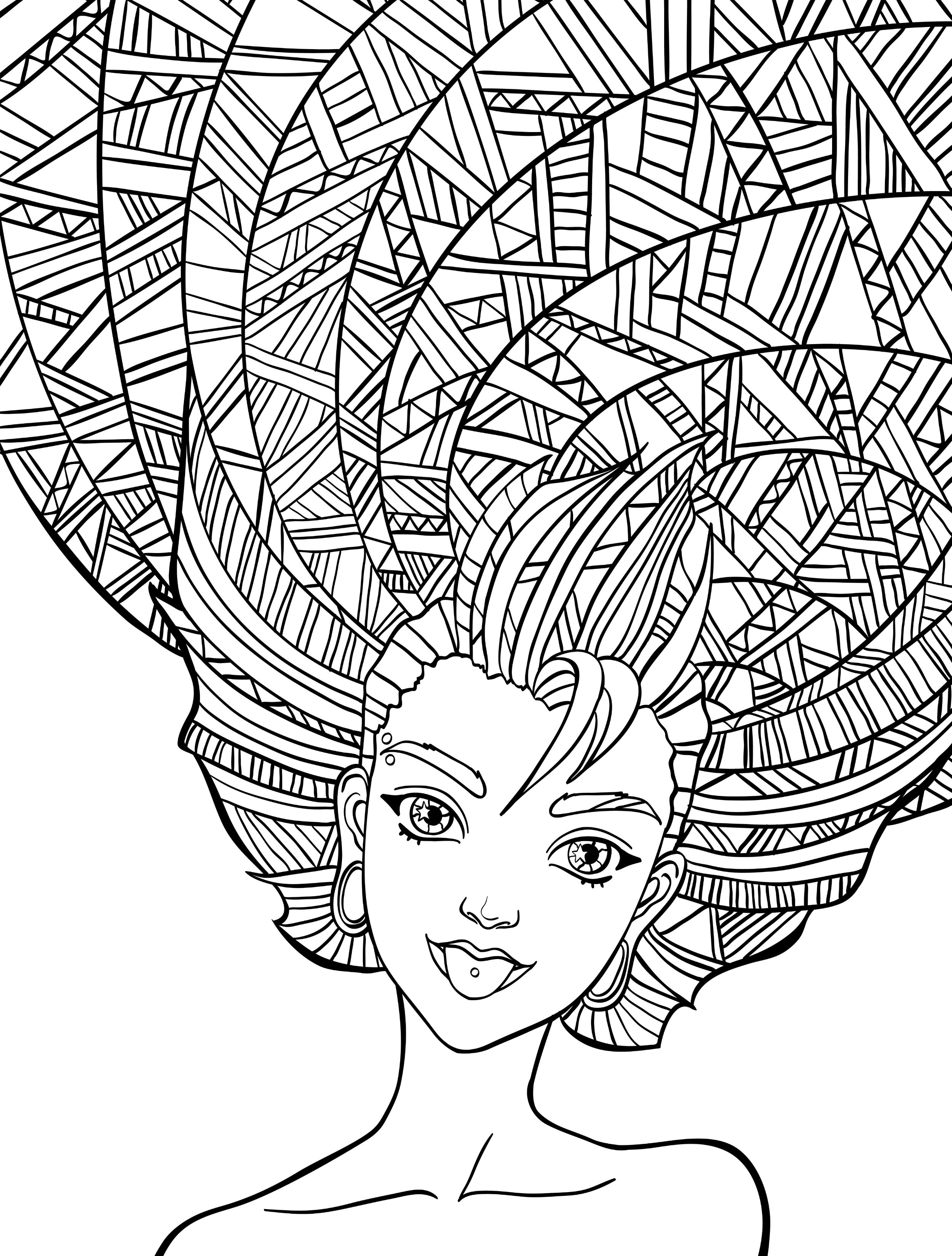 People Coloring Pages For Girls  10 Crazy Hair Adult Coloring Pages Page 9 of 12 Nerdy