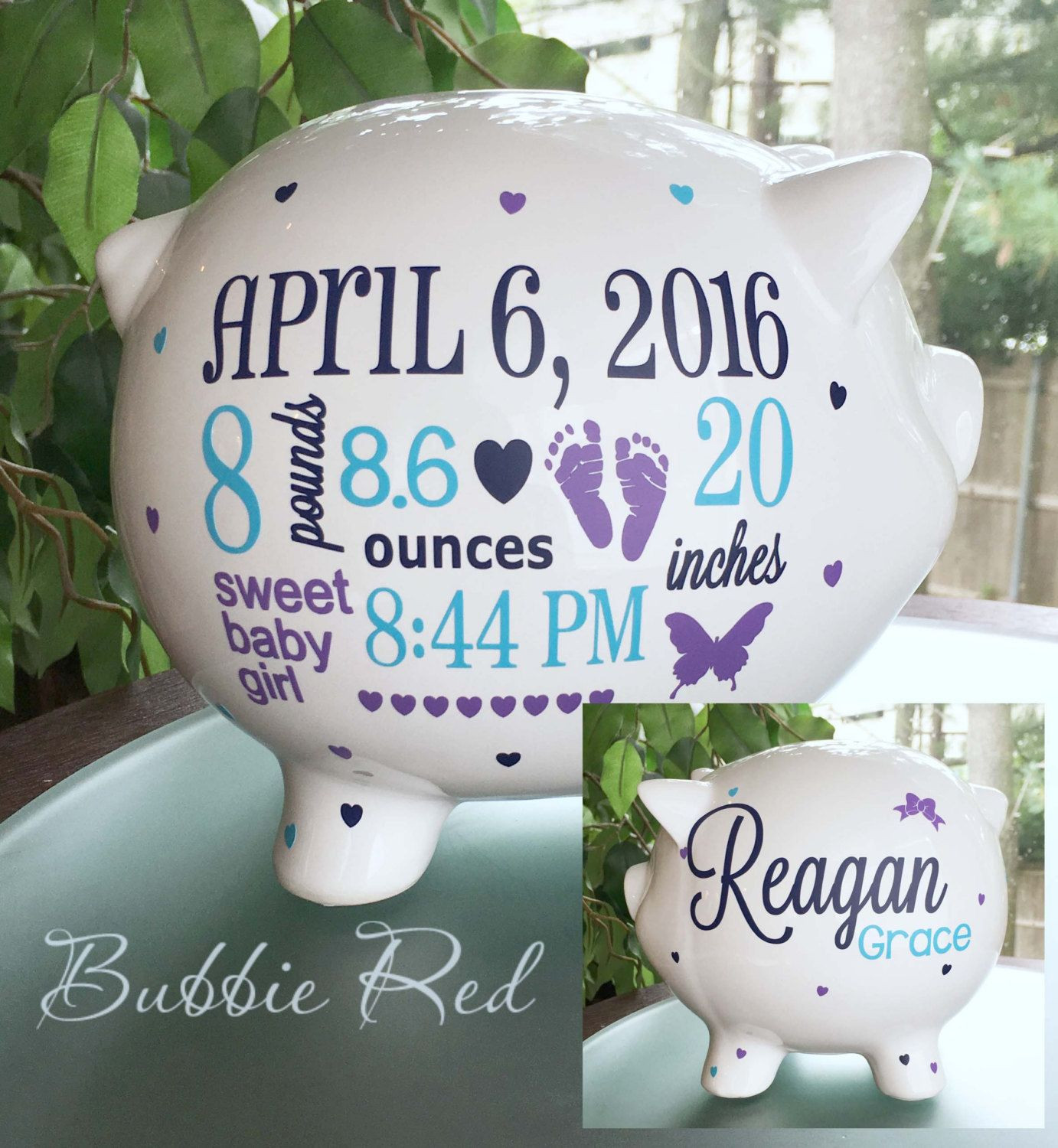 Personalized Baby Gift Ideas  Personalized Piggy Bank Custom Baby Birth Stats Gift