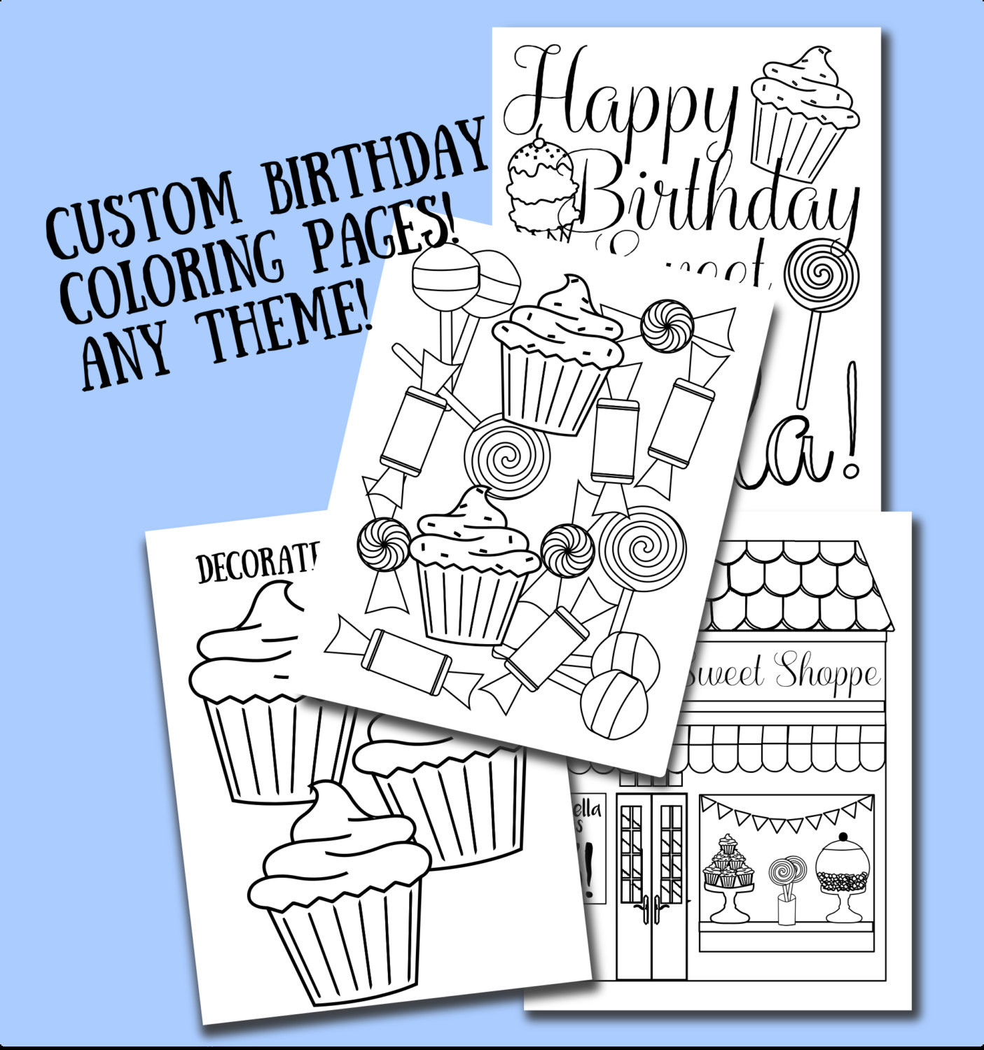 Personalized Coloring Pages  Custom Printable color sheets party favor birthday
