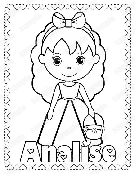 Personalized Coloring Pages  Personalized Printable Flowergirl Wedding Party by