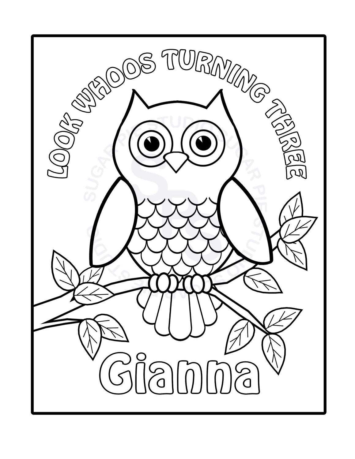 Personalized Coloring Pages  Personalized Printable Owl Birthday Party Favor childrens kids
