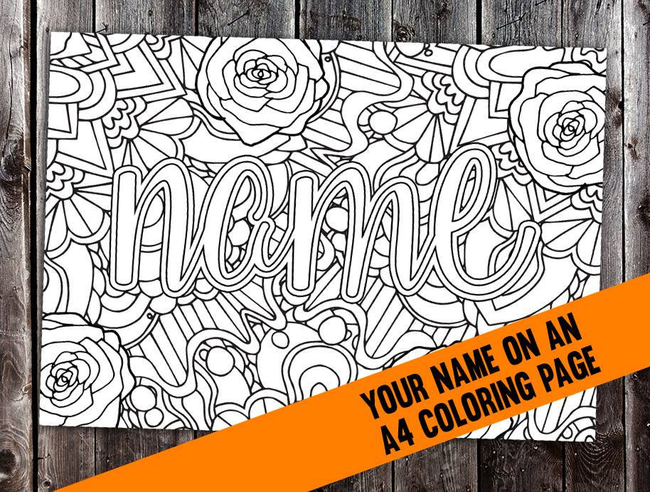 Personalized Coloring Pages  Custom coloring page from your name CBL00N Printable A4