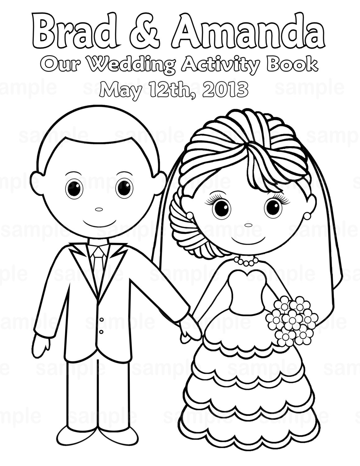Personalized Coloring Pages  Printable Personalized Wedding coloring activity by
