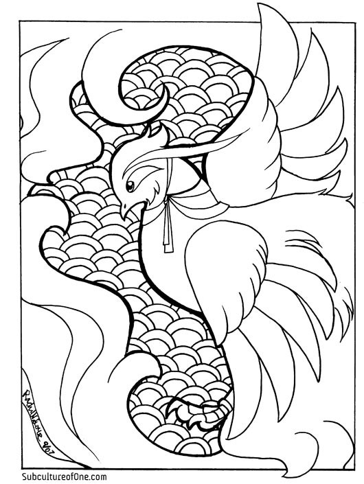 Pheonix Coloring Pages  Phoenix Coloring Book Page by rachelthegreat on DeviantArt