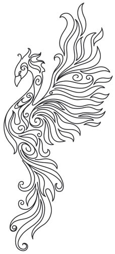 Pheonix Coloring Pages  Phoenix Tattoo Coloring Pages Sketch Coloring Page