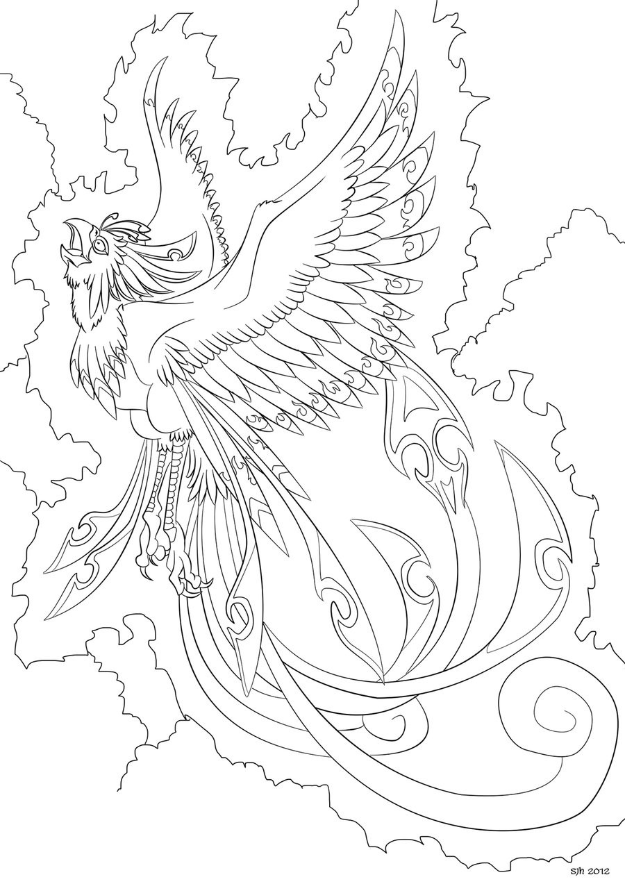 Pheonix Coloring Pages  Phoenix Coloring in Page 8 by darkly shaded shadow on