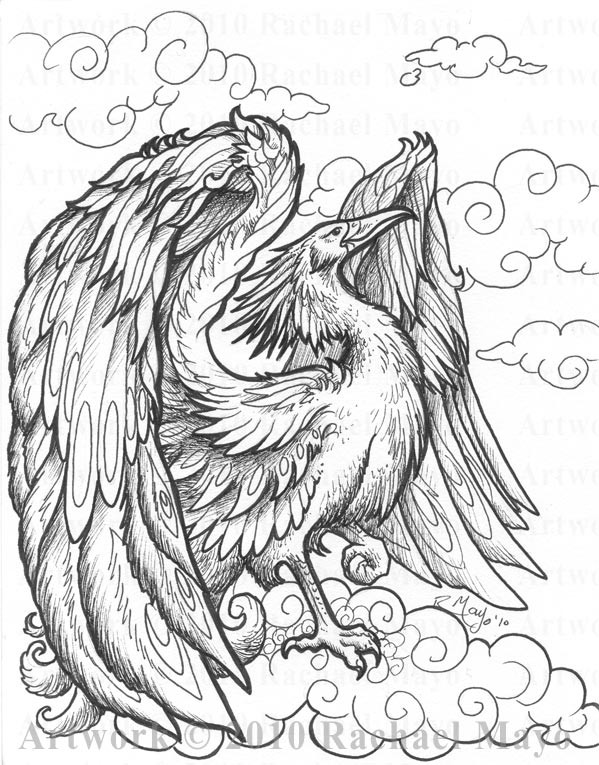 Pheonix Coloring Pages  Tremorworks Phoenix bw by rachaelm5 on DeviantArt