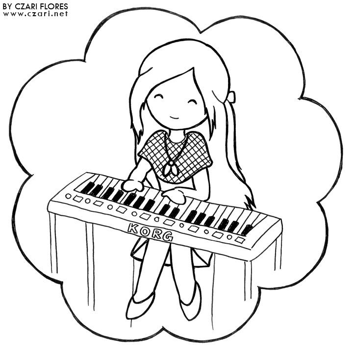 Piano Coloring Pages  Girl Playing Piano Drawing at GetDrawings