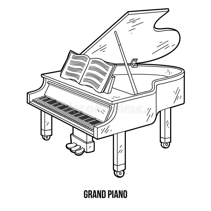 Piano Coloring Pages  Coloring Book Musical Instruments grand Piano Stock