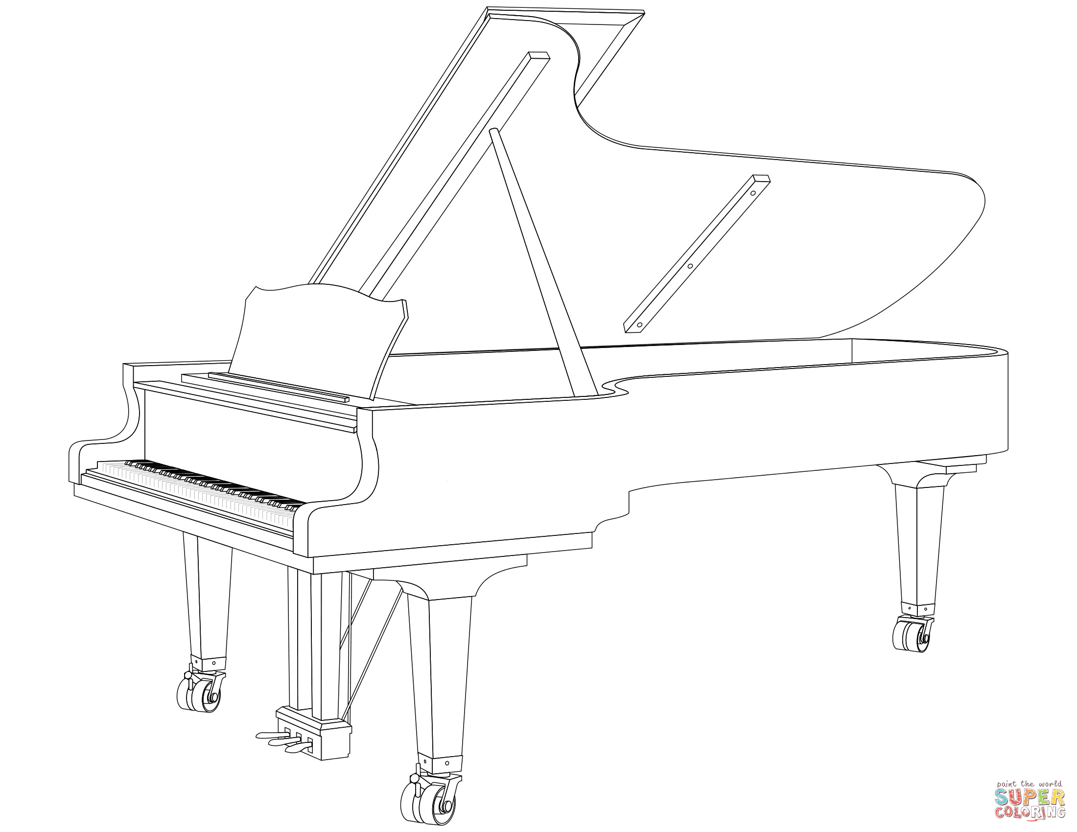 Piano Coloring Pages  Grand Piano coloring page
