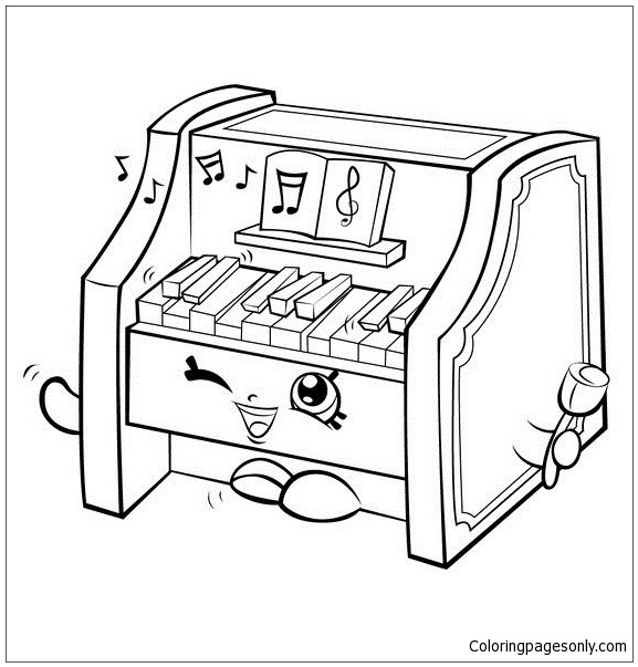 Piano Coloring Pages  Piano Shopkins Coloring Page Free Coloring Pages line