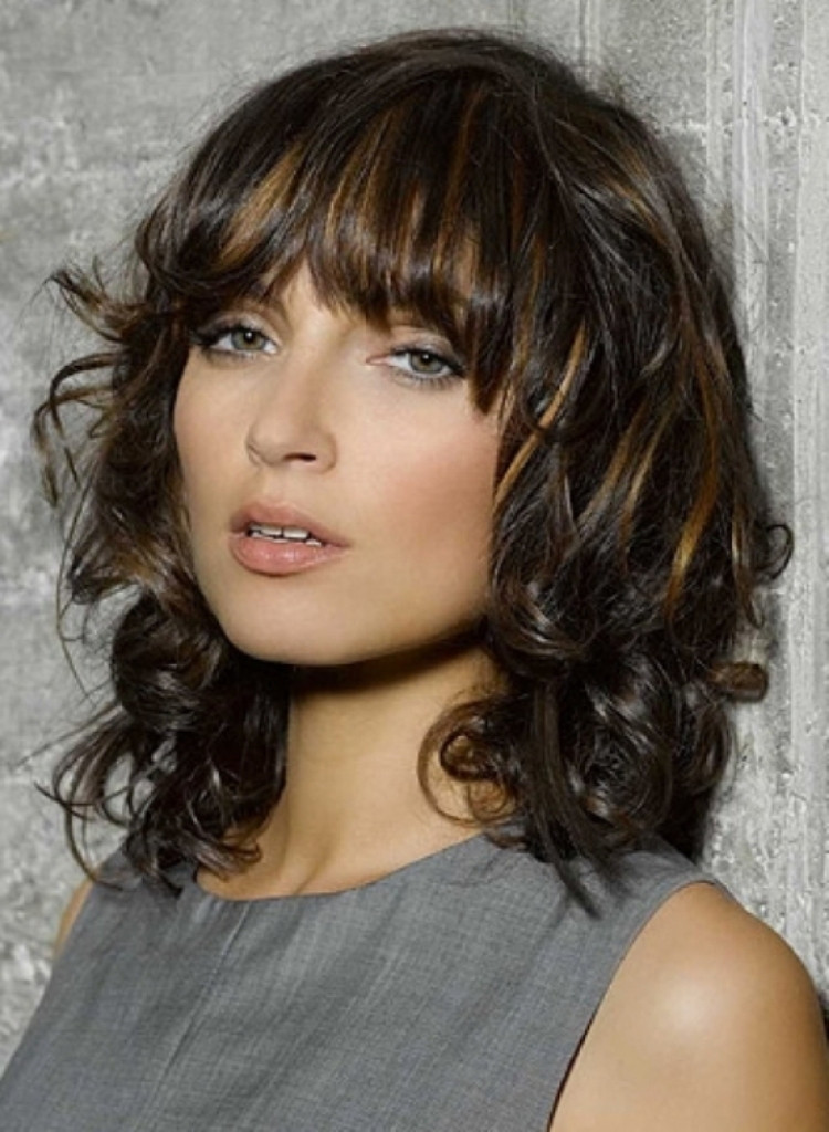 Pictures Of Medium Length Hairstyles  25 Short Curly Hair With Bangs