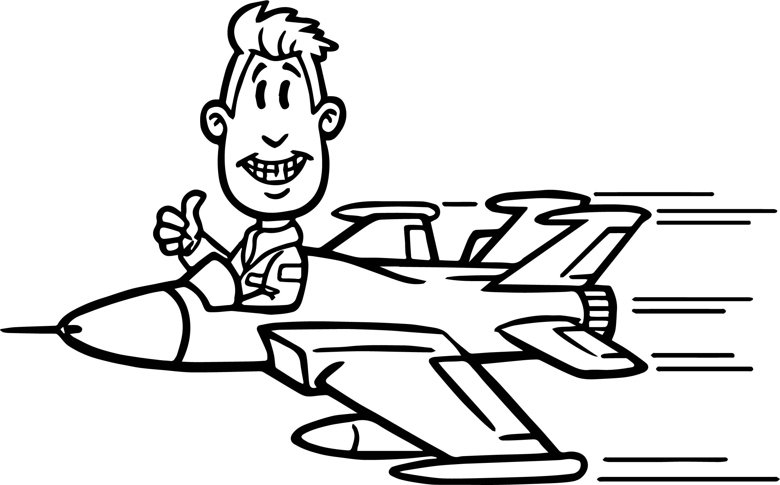 Pilot Coloring Pages For Kids  Pilot Man Plane Coloring Page