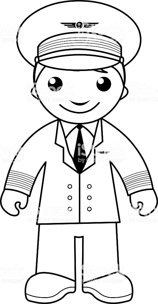 Pilot Coloring Pages For Kids  Pilot Coloring Page For Kids Stock Vector Art & More