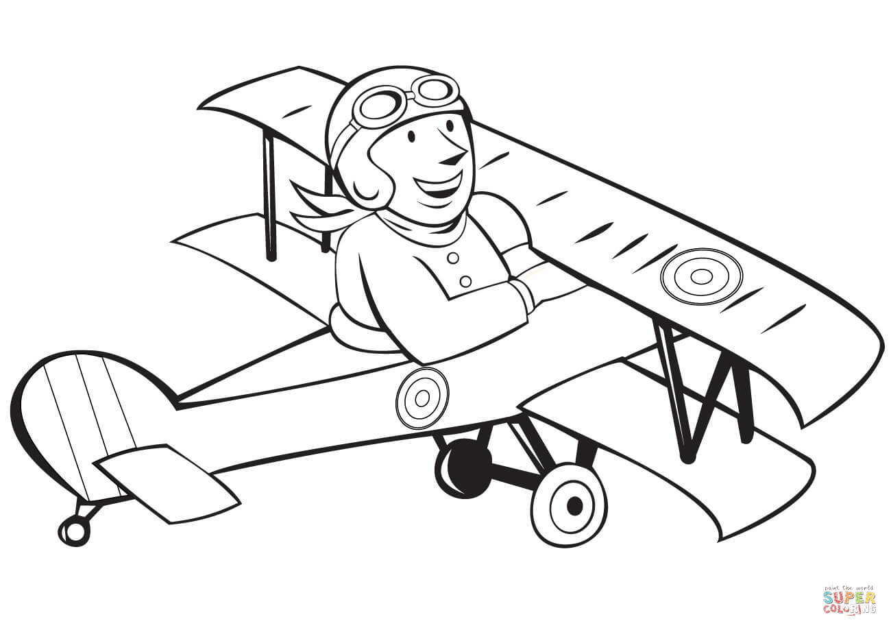 Pilot Coloring Pages For Kids  WW1 French Pilot on Biplane coloring page