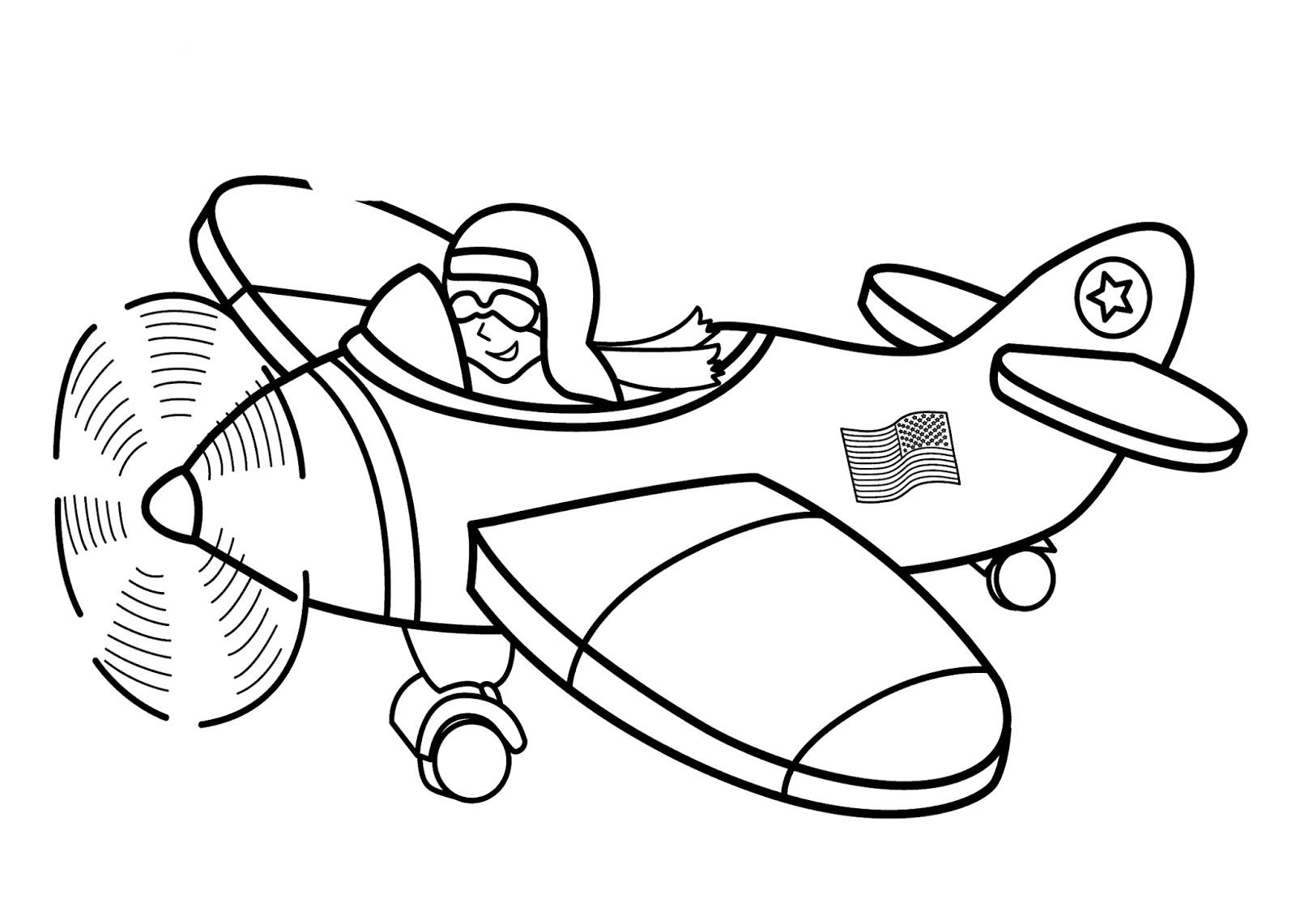 Pilot Coloring Pages For Kids  Transportation For Kids Coloring Pages