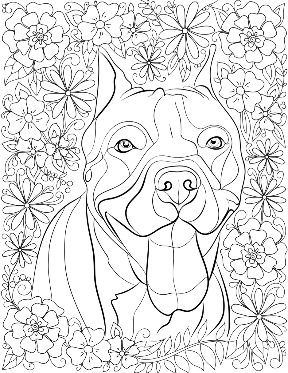Pit Bull Coloring Book  De stress With Pit Bulls Downloadable 10 Page Coloring