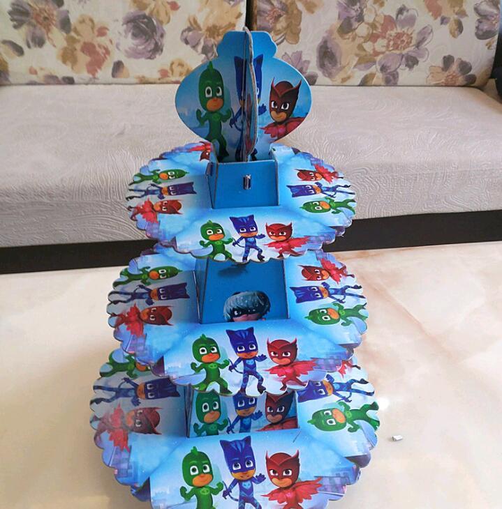 Pj Masks Birthday Cake Walmart  1pc set PJ masks theme three layer paper cupcake stand for